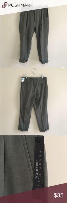 Perry Ellis Portfolio No Iron Wrinkle Free 36/29 NWT Perry Ellis Portfolio No Iron Wrinkle Free Flat Front Black 36/29 Olive Perry Ellis Pants Trousers