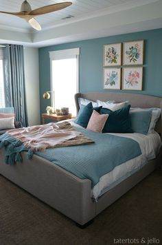 master bedroom paint colors How to Create an Upscale, Luxurious Master Bedroom using paint. Three painting tips to turn your bedroom into a beautiful, restful retreat! Bedroom Wall Colors, Bedroom Color Schemes, Home Decor Bedroom, Bedroom Ideas, Teal Bedroom Walls, Relaxing Bedroom Colors, Indian Bedroom Decor, Bedroom Interiors, Bedroom Inspo