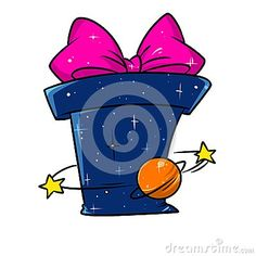 Gift space galaxy astronomy cartoon illustration isolated image