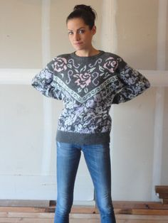vintage sweater 80s sweater acrylic sweater by PulseVintage, $40.00