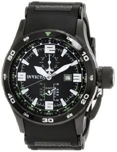 Invicta Men's 1759 Aviator Flight GMT Black Dial Black Polyurethane Watch Invicta. $134.99. Water-resistant to 100 M (330 feet). Flame-fusion crystal; brushed black ion-plated stainless steel case; black polyurethane strap with black ion-plated stainless steel barrel inserts. Swiss quartz movement. Month subdial at 12:00 and 24 hour indicator at 6:00. Black dial with silver tone and white hands, hour markers and arabic numerals; luminous; 18k gold ion-plated stainless steel b...