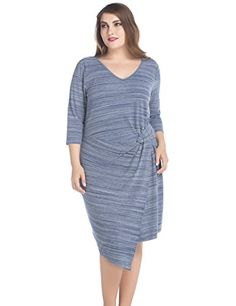 Chicwe Womens Plus Size V Neck Marina Twist Dress 16 Blue Melange >>> Visit the image link more details. Maternity Swimwear, Maternity Wear, Plus Size Dresses, Dress Brands, Fashion Brands, Your Style, Cold Shoulder Dress, Swimsuits