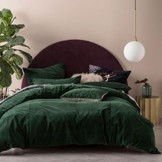 Deluxe Velvet Quilt Cover Set by Linen House Bedroom Green, Green Rooms, Room Ideas Bedroom, Home Bedroom, Bedroom Decor, Bedrooms, Master Bedroom, Green Comforter, Teal Bedding