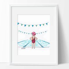 Girl Swimmer Wall Art Print Drawing of Girl Water Baby Wall Decor Gift For Coach Girl Swim Team Art Bathing Suit Art Baby Wall Decor, Bath Girls, Swim Team, Diy For Kids, Art Drawings, Drawing Drawing, New Baby Products, Wall Art Prints, Illustration