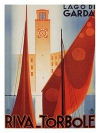 Painting - Yachts On Lago Di Garda, Riva Torbole - View Of The Lake Garda In Italy - Illustrated Vintage Poster by Studio Grafiikka , Art Deco Logo, Retro Poster, A4 Poster, Poster Prints, Poster Wall, Vintage Italian Posters, Vintage Travel Posters, Lake Garda Italy, Italy Tourism