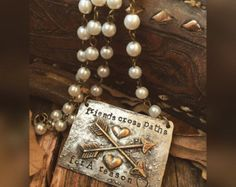 Friends cross paths for a reason - hand stamped repurposed metal - glass pearl rosary style beads - Edit Listing - Etsy