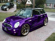 Mini Cooper S With Wide Body Kit Ger Wheels Stunning Purple Chrome Paint And Graphics As Nice A I Have Seen Need To Insure It Properly Check