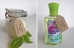 """basic idea, good to test different bases for your needs (Epsom salt, sugar, baking soda) . 'Free Printable gift or favor tag to tie onto a homemade bath item or something from Bath and Body Works. """"From our Shower to Yours"""". Bridal Shower Wine, Nautical Bridal Showers, Summer Bridal Showers, Bridal Shower Centerpieces, Baby Showers, Nautical Baby, Nautical Theme, Baby Shower Printables, Baby Shower Themes"""