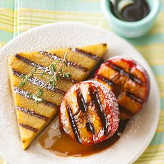 (plums) Dessert Polenta with Grilled Balsamic Plums | BHG #recipe