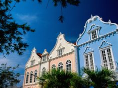 Located on the picturesque southern coast, #Oranjestad is the historic Dutch capital of #Aruba, where the traditional, tall, multicolored houses combine carved wooden doors and typical Dutch tiles with open-air patios. #Caribbean