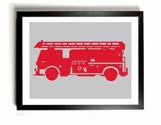 Children's Firetruck Art Print  - Custom colors, Nursery Wall Decor, Kids room art on Etsy, $15.00