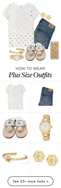 """Golden Outfit"" by hayleighbrown11 on Polyvore featuring Abercrombie & Fitch, Jack Rogers, Tory Burch, Banana Republic, Kate Spade, women's clothing, women's fashion, women, female and woman"