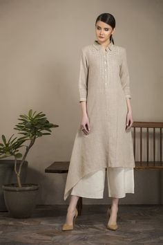 Fabric Material: Linen Material Composition: 100 % Cotton Care: Dry Clean Only Tunic Designs, Kurti Neck Designs, Kurta Designs Women, Dress Neck Designs, Kurti Designs Party Wear, Stylish Dress Designs, Stylish Dresses, Simple Dresses, Indian Designer Outfits