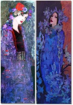 Female portrait, Painting by Richard Burlet