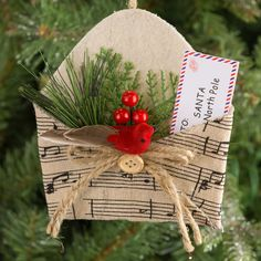 Envelope with Sheet Music Pattern Ornament - X-Mas Baumschmuck - Music Christmas Ornaments, Homemade Christmas Decorations, Paper Ornaments, Vintage Ornaments, Vintage Santas, Musical Christmas Decorations, Paper Decorations, Handmade Christmas, Christmas Wreaths
