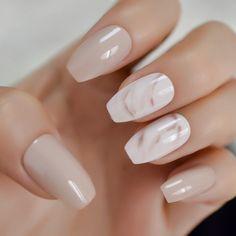Marble Nail Designs, Nail Art Designs, Nails Design, Classy Nail Designs, Salon Design, Coffin Press On Nails, Coffin Nails, Short French Nails, Short Fake Nails