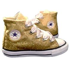 d050edd8358 Kids Sparkly Glitter Converse All Stars Flower Girls birthday Shoes Gold  Champagne