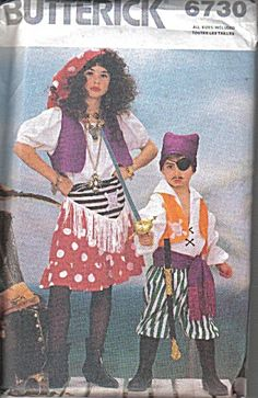 Butterick Pattern for Child size Pirate costumes (Image1)