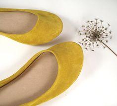 Sunflower Yellow Soft Leather Handmade Ballet Flats by elehandmade, $98.00