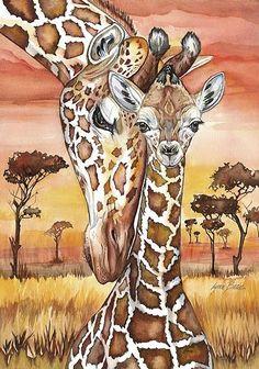 Awww... Baby giraffe gets a cuddle from mom! <3