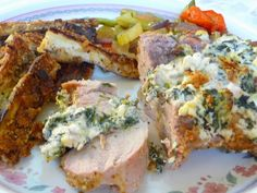 SPLENDID LOW-CARBING BY JENNIFER ELOFF: BREADED PORK TENDERLOIN WITH FETA, CREAM CHEESE AND SPINACH - Delicious and super the next day as well. Think you will like this!  Visit us from: https://www.facebook.com/LowCarbingAmongFriends
