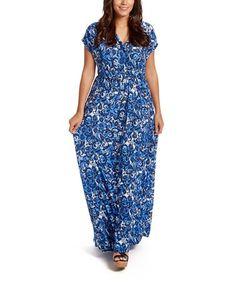 Loving this Blue & White Surplice Wrap Dress - Plus on #zulily! #zulilyfinds