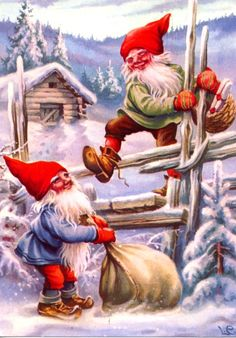 2 Elves Climb Fence Delivering Presents Jenny Nystrom Holiday Christmas Counted Cross Stitch or Counted Needlepoint Pattern Swedish Christmas, Christmas Gnome, Scandinavian Christmas, Vintage Christmas, Christmas Holidays, Illustration Noel, Christmas Illustration, Illustrations, Counted Cross Stitch Patterns