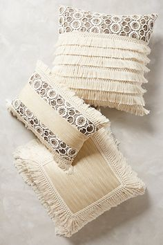 Fringe Pillow #anthrofave #ivorydecor #anthropologie