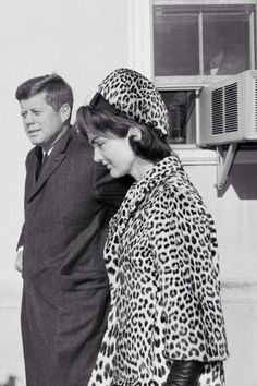 Jacqueline Kennedy with President John F. Kennedy at the Middleburg Community Center in Virginia, January 14, 1962.