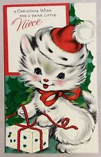 """""""Love to Mommy at Christmas"""" - kitten wearing Santa hat Cat Christmas Cards, Christmas Kitten, Christmas Graphics, Noel Christmas, Christmas Animals, Retro Christmas, Xmas Cards, Christmas Greetings, Vintage Christmas Images"""
