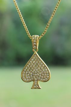 """Gorgeous sparkle necklace - NEW ICED OUT SPADE PENDANT & 24"""" BOX/ROPE CHAIN HIP HOP NECKLACE"""