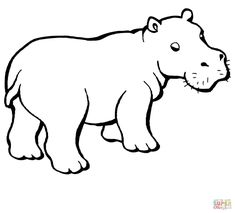 Baby Hippo coloring page from Hippopotamus category. Select from 28148 printable crafts of cartoons, nature, animals, Bible and many more. Cute Hippo, Baby Hippo, Hippo Tattoo, Hippo Drawing, Tier Zoo, Amazon Animals, Coloring Pages Inspirational, Animal Coloring Pages, Coloring Sheets