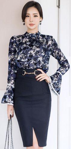 Gold Ring Decorative Detail H-Line Skirt #navy #pencilskirt #chic