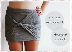 Use an oversize cotton scarf or a piece of jersey to create a cute wrap skirt.