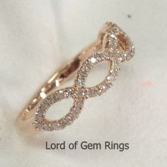 Floral Round Cut Curved Diamonds 14K Rose Gold Wedding Band Anniversary Ring