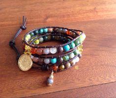 MB Bracelet Triple Beaded Leather Wrap by Michelle Sanders