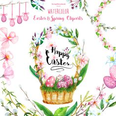 Watercolor Easter and Spring Cliparts  digital by Scrapstorybook