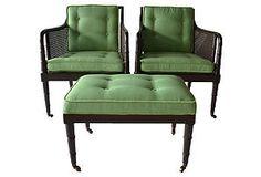 One Kings Lane - Desert Modern - 1930s Caned Chairs & Ottoman, S/3