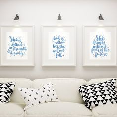 Set of 3 Encouraging Women Of God Christian Prints -- We love these prints & think they go wonderfully as a set. The blue watercolour wash of the brush-lettered text creates a lovely eye-catching collection. These 3 expressive prints are all designed to encourage and inspire women of God. The Lovely Eyes, She Is Clothed, Godly Woman, All Design, Watercolour, Encouragement, Bible, Inspire, Christian