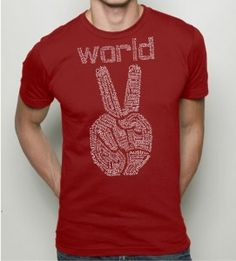 Red World peace t shirt from RCTees on #Etsy #Etsify