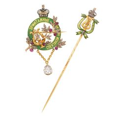 FABERGÉ Imperial Presentation Stickpin and Brooch. Gold,  green enamel, and diamonds. St. Petersburg 1898.