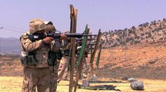 From Yahoo News, piece I put together. > For many #peshmerga, it is the first time they have fired an M16 assault rifle.  Between training sets, they laugh and joke with each other, but when it's time to focus, they work hard over the long days of the burning summer. #iraq