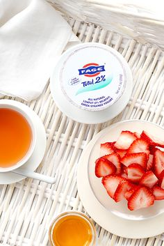 Sliced strawberries are a beautiful addition to FAGE Total 2%.
