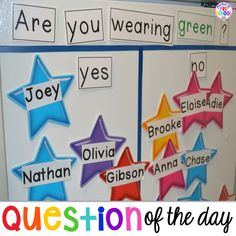 Question of the day in my preschool classroom. Tips and tricks to implement it in the classroom and WHAT students are learning. Perfect for preschool and kindergarten. Head Start Classroom, New Classroom, Kindergarten Classroom, Classroom Activities, Preschool Classroom Management, Classroom Ideas, Kindergarten Calendar, Graphing Activities, Time Activities