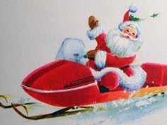 Santa Claus Drives A Snowmobile