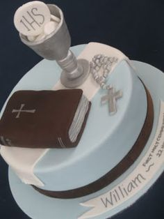 First Holy Communion Chalice Host Rosary Bible Cake Fondant Cakes, Cupcake Cakes, Bible Cake, First Holy Communion Cake, Religious Cakes, Confirmation Cakes, Sculpted Cakes, Occasion Cakes, Celebration Cakes