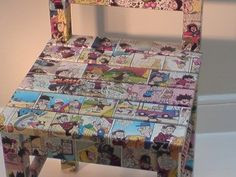Decoupage comic strips on a chair, do more decoupaging