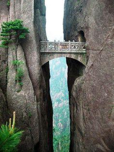 The fairy walking bridge in the Huangshan mountain. Xihai grand canyon