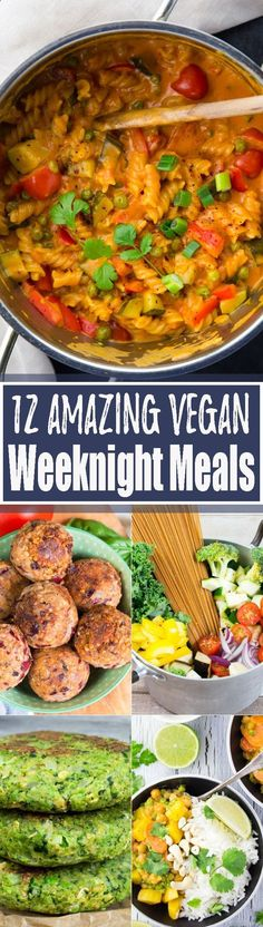 These 12 vegan recipes are perfect when youre looking for delicious and easy vegan weeknight meals! The roundup includes vegan pasta recipes, one pot meals, a vegan burger, a vegan curry, and vegan meatballs. SO yummy!