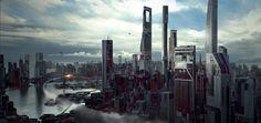 SciFi Cityscape, Long Pham on ArtStation at https://www.artstation.com/artwork/5eDnW